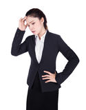Worried business woman isolated on white. Background Stock Photo