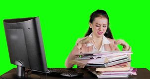 Worried business woman searching document stock video footage