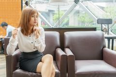 Worried business woman thinking about her work - business concep. T Royalty Free Stock Photography