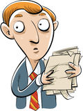 Worried Businessman. A worried cartoon businessman looking around while holding documents royalty free illustration