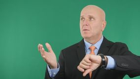 Worried Businessman Check Wristwatch and Gesticulate Nervous. Image with a Worried Businessman Check Wristwatch and Gesticulate Nervous royalty free stock images
