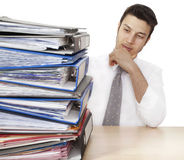 Worried businessman with folders Stock Photography