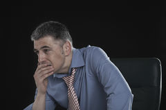 Worried Businessman With Hand On Mouth Stock Images