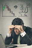 Worried businessman losing on financial markets Royalty Free Stock Image