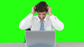 Worried businessman using laptop at desk. Against green background stock video footage