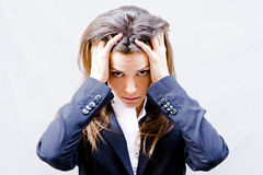 Worried businesswoman. Showing her desperation Royalty Free Stock Image