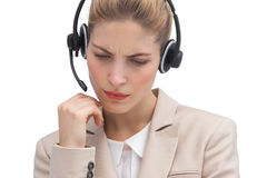 Worried call center agent Stock Photography