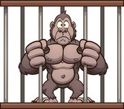 Worried cartoon gorilla trapped in a cage. Vector illustration with simple gradients. Some elements on separate layers royalty free illustration