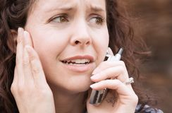 Worried cell phone Call Royalty Free Stock Photography