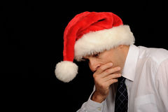 Worried Christmas Man Stock Photos