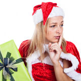 Worried Christmas woman Royalty Free Stock Images