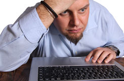 Worried computer user Royalty Free Stock Photo