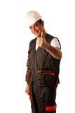 Worried construction worker isolated Stock Photography