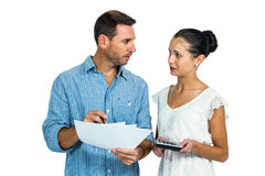 Worried couple calculating bills Royalty Free Stock Photo