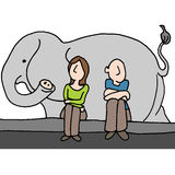 Worried couple elephant in the room Stock Photos