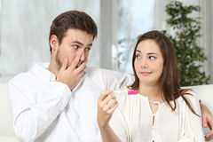Worried couple making pregnancy test Royalty Free Stock Image
