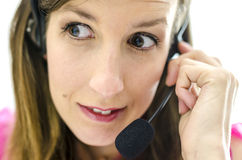 Worried customer service representative Royalty Free Stock Image