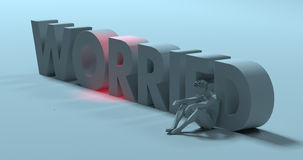 Worried - 3d render text sign, near sad stressed man, illustrati Royalty Free Stock Photo