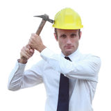 Worried and depressed builder manager royalty free stock image