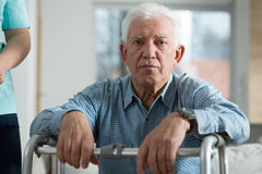 Worried disabled senior man Stock Images