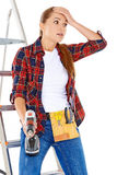 Worried DIY handy woman Stock Photos
