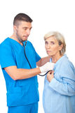 Worried doctor checkup sick senior Royalty Free Stock Images