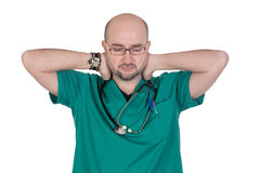 Worried doctor isolated Stock Image