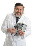 Worried Doctor with social security cards Stock Image
