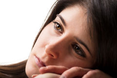 Worried or dreaming thoughtful woman Royalty Free Stock Photo