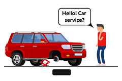 Worried driver calling roadside assistance to help with his breakdown car vector illustration. vector illustration