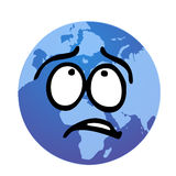 Worried earth illustration. Vectored illustration of the globe as comic face but really worried out vector illustration