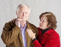 Worried Elderly Couple Stock Image