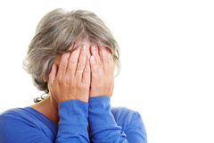 Worried elderly woman Royalty Free Stock Images