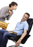 Worried Father and Late Daughter Royalty Free Stock Image