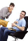 Worried Father and Late Daughter. Single father waiting for teenage daughter after curfew Stock Image