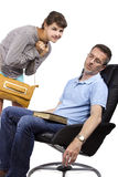Worried Father and Late Daughter. Single father waiting for teenage daughter after curfew Stock Photo