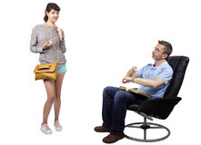 Worried Father and Late Daughter Stock Image