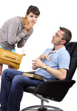 Worried Father and Late Daughter. Single father waiting for teenage daughter after curfew Stock Photography
