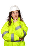Worried female construction worker Stock Photography