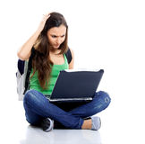 Worried female student Royalty Free Stock Image