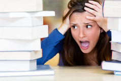 Worried female student Royalty Free Stock Photo