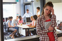 Worried Female Student Waiting Outside College Tutorial Stock Photos