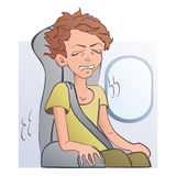Worried frightened man in the airplane seat at the window. Fear of flying, aerophobia. Vector illustration, isolated on. White background stock illustration