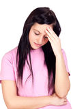 Worried girl with headache Stock Photo