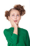Worried girl with teethahce Stock Photo