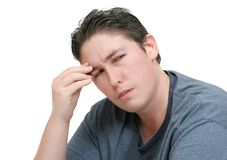 Worried headache man Royalty Free Stock Photography