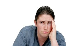 Worried headache man Stock Photo
