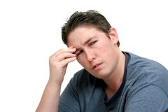 Worried headache man Stock Images