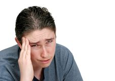 Worried headache man Stock Photography