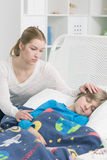 Worried about her son's health breakdown Stock Photo